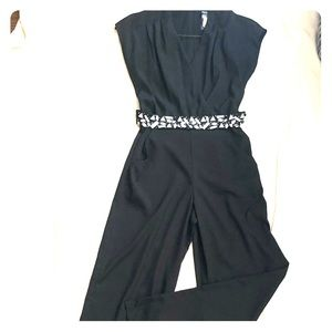 Black dressy jumpsuit w/embellished belt